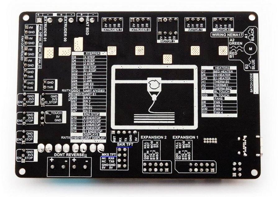 En azul señalado los conectores que contienen este UART para pantallas serial
