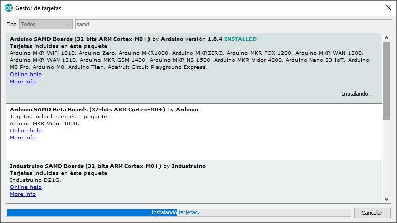 Actualización del core para SAMD de Arduino